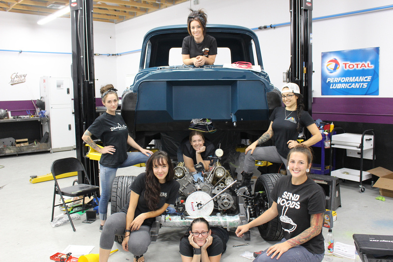 Bogi Lateiner and some of the women on the build with the Chevy Montage truck - photo courtesy of Bogi's Garage